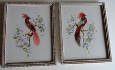 Pair of Glenn F. Bastian Gouach Bird Pictures, Signed #Americana