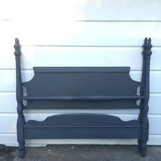 Chalk Painted Full Size Bed Frame Slate Gray Rustic Distressed Shabby Chic Original Hand Painted Headboard/Foot Board