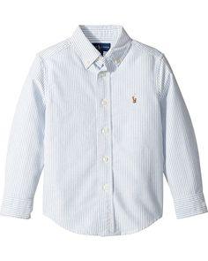 Polo Ralph Lauren Kids Striped Cotton Oxford Shirt (Little Kids/Big Kids) Ralp Lauren, Polo Ralph Lauren Kids, Big Kids, Oxford, Shirt Dress, Long Sleeve, Light Blue, Mens Tops, Cotton
