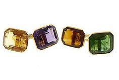 Art Deco 14K Gold, Amethyst, Citrine & Tourmaline Cufflinks