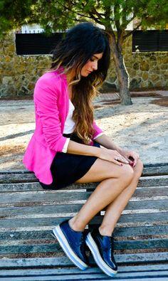 LOVE this hot pink blazer.