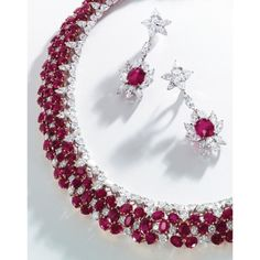 Pair of Platinum, Ruby and Diamond Pendant-Earclips | Lot | Sotheby's
