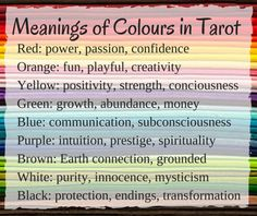 Meanings of Colours in Tarot Cards: http://gypsyartevents.com/2015/06/13/how-to-interpret-the-colours-of-the-tarot/
