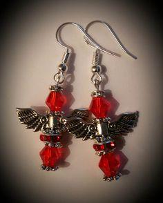 Swarovski crystal angel earrings handmade sterling silver