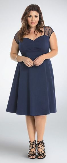 Plus Size Mesh Dot Inset Swing Dress--- I would maybe wear this. Plus Size Skirts, Plus Size Maxi Dresses, Trendy Dresses, Plus Size Outfits, Fashion Dresses, Big Size Dress, Curvy Fashion, Plus Size Fashion, Vestidos Plus Size
