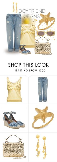 """""""Borrowed from the Boys:  Boyfriend Jeans"""" by sassyscribe ❤ liked on Polyvore featuring Valentino and J Brand"""