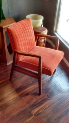 Danish Mid-Century chair done in orange corduroy. Brought to you by Nothing New
