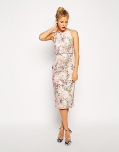 ASOS   ASOS Blossom Print Crop Top Dress at ASOS