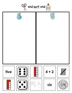 Number Sorts {Early Math Sorting Series, Set #1} These sorting sheets provide children with extra practice recognizing numbers and values. Students match numbers to tens frames, dice, tally marks, sums, number words, counters, and fingers. Great for homework and math centers, too. $