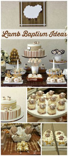 A lamb themed baptism party with adorable sheep cupcakes and treats! See more party planning ideas at CatchMyParty.com!