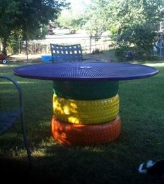 Make gardening ideas with old car tire flower pots and stool itself