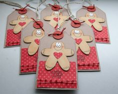 Gingerbread men gift tags ~ these would be perfect for giving baked goods and other homemade treats.