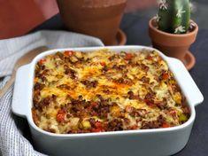 prei ovenschotel met kruidig gehakt en paprika - Familie over de kook