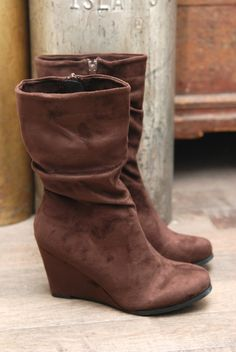 Image of Mid-Rise Suede Wedge Boots - Brown