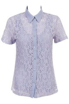 Emboidery Lace Light Blue Shirt. Description  Light blue shirt, featuring short sleeve styling, emboidery and lace flowers, single breasted, vest inside. Fabric Polyester,Cotton. Washing Cool hand wash with similar colours, do not tumble dry. #Romwe