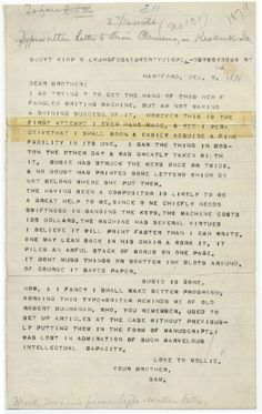 "Mark Twain's 1874 letter to his brother, the first typed on his ""new fangled writing machine"""