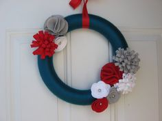Yarn Wreath-Teal, Red, White and Grey Yarn and Felt Flower Wreath,  Door Wreath 12 inches, Front Door Wreath