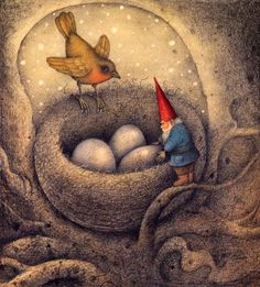 Gnomie making sure all was well with the new additions -artist Wayne Anderson Fairy Land, Fairy Tales, Wayne Anderson, Enchanted, Humanoid Creatures, Images Vintage, Elves And Fairies, All Nature, Woodland Theme