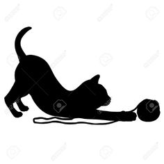 15685937-Kitten-playing-with-a-ball-of-wool--Stock-Vector-silhouette-cat-cats.jpg (1300×1300)