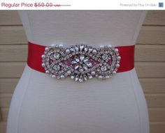 ON SALE Bridal Sash  Wedding Dress Sash Belt  by BellaFleurBridal, $42.50