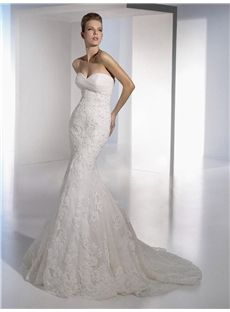 Brisbane Charming Sweetheart Lace Organza Chapel Train Wedding Dress