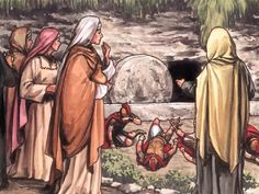 Free visuals:  The Resurrection of Jesus  Mary Magdalene and Mary go to the tomb where Jesus is buried, and an angel tells them that Jesus has risen from the dead.  Matthew 28:2-4, Mark 16:1, 4-7, Luke 24:9-11, John 20:3-10