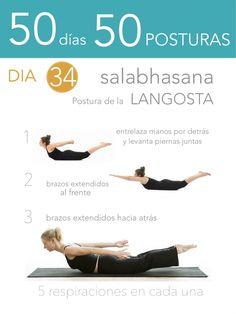 ૐ YOGA ૐ ૐ Salabhasana ૐ 50 días 50 posturas. Día 34. Postura de la Langosta.