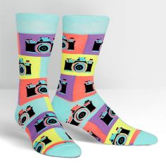 If you prefer film to digital, have we got the socks for you? Our Say Cheese! Men's Crew Socks have a classic retro vibe that true shutterbugs will love. Photographer Gifts, Gifts For Photographers, Fun Dress Socks, Buy Socks, Men's Socks, Knee Socks, Mens Novelty Socks, Food Socks, Retro Camera
