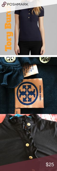 Tory Burch polo shirt Size medium black cotton polo with ruffled collar and gold logo buttons short sleeves shirt is 24 inches long with a 36 inch bust super cute Tory Burch Tops Tees - Short Sleeve
