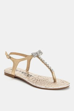 Gold Rhinestone Bow Sandal