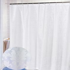 """Carnation Home """"Damask"""" Fabric Shower Curtain in White"""
