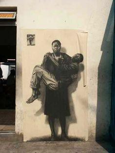 Ernest Pignon-Ernest in Kliptown - Soweto 3d Street Art, Grafitti Street, Street Art Banksy, Graffiti Wall Art, Best Street Art, Amazing Street Art, Mural Art, Street Artists, Image Du Christ