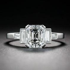 GIA Cert 1.79 Carat Emerald-Cut Diamond Platinum Ring | From a unique collection of vintage engagement rings at https://www.1stdibs.com/jewelry/rings/engagement-rings/
