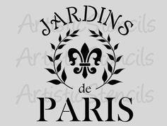 POCHOIR Jardins Français de Paris - jardins de Paris 10 x 12