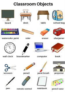 classroom objects picture dictionary