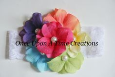 Rainbow Hydrangea Couture Lace Headband - Newborn Hairbow - Baby Girl Bow - Spring Summer Collection - Photo Prop. $7.99, via Etsy.