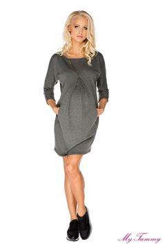 5aa65ca91c Dresowa sukienka ciążowa Paula szara Nursing Tops