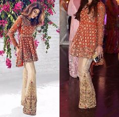 Latest Pakistani Short Frocks Peplum Tops Styles & Designs Collection consists of trends & styling of short frocks with bell bottoms, shararas, etc Pakistani Formal Dresses, Pakistani Dress Design, Pakistani Outfits, Indian Dresses, Indian Outfits, Pakistani Clothing, Pakistani Designers, Ethnic Fashion, Asian Fashion