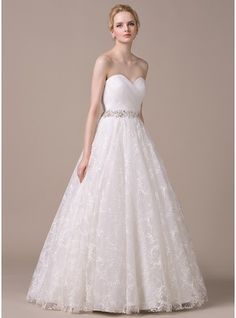 Ball-Gown Sweetheart Floor-Length Organza Lace Wedding Dress With Ruffle Beading Sequins  http://www.jjshouse.com/Cheap-Wedding-Dresses-c2/Ball-Gown_p1i3/p4/