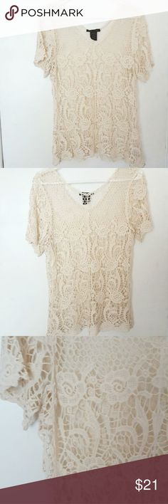 Crochet Top Very beautiful crochet top. Loose fitting, nice detailing, worn once. 100% cotton  Size: M will fit a L too design works Tops