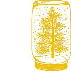 Snow Globe Jar Rubber Stamp