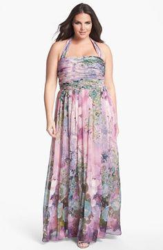99b90d2f99d5d Adrianna Papell Print Chiffon Halter Dress (Plus Size)