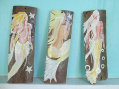 Set of three hand painted mermaids by oceangirlcollection on Etsy