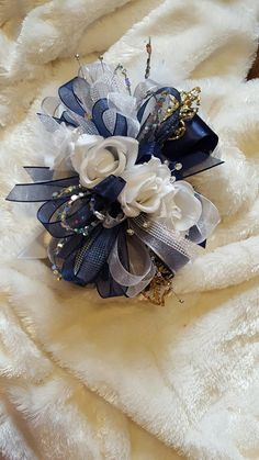 Navy white silver and gold prom corsage from Hen House Designs www.henhousedesigns.net