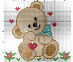 Bear with Hearts Baby Cross Stitch Patterns, Cross Stitch Baby, Cross Stitch Animals, Baby Knitting Patterns, Cross Stitch Designs, Baby Patterns, Cross Stitch Cards, Cross Stitching, Cross Stitch Embroidery