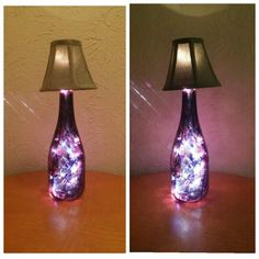 Purple and blue alcohol ink painted wine bottle lamp...