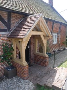 Take a look at our gallery of various styles of oak porches Porch Canopy, Door Canopy, House With Porch, House Front, Porches, Front Door Porch, Porch Oak, Oak Framed Buildings, Porch Kits