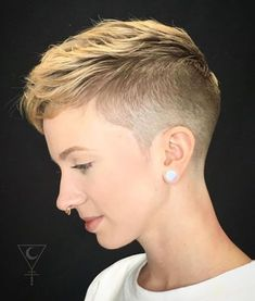 60 Cute Short Pixie Haircuts – Femininity and Practicality Short Sides Long Top Haircut Undercut Pixie Haircut, Short Pixie Haircuts, Pixie Hairstyles, Hairstyles With Bangs, Wedding Hairstyles, Updos Hairstyle, Trendy Hairstyles, Braided Hairstyles, Crop Haircut