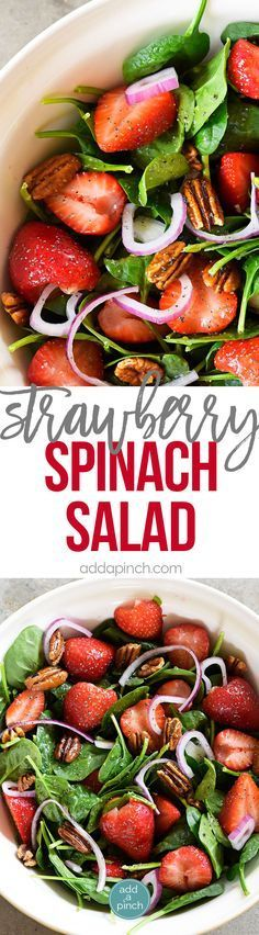 Strawberry Spinach Salad Recipe - Strawberry Spinach Salad topped with an easy Poppy Seed Dressing makes for a beautiful and delicious spring and summer salad recipe. Perfect for parties, picnics, and get-togethers! Always a crowd favorite! // http://addapinch.com