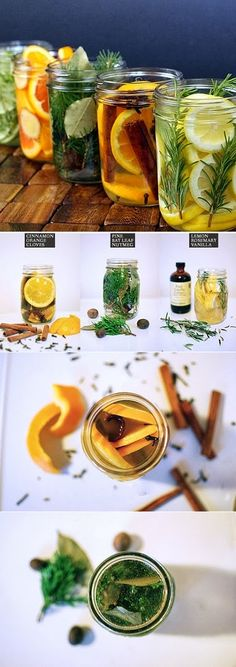 Natural room scents: Combine ingredients in a jar. Add water. Pour in a pot and simmer over a stovetop (or slow cooker, fondue pot, etc. Any...